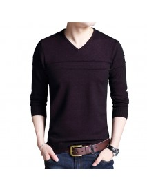 Autumn Winter Fashion Mens V neck Slim Casual Solid Color Sweaters Pullovers