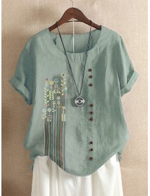 Bohemian Print Button Crew Neck Short Sleeve T-Shirts