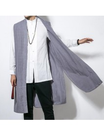 INCERUN Mens Chinese Style Vintage Cotton Loose Fall Cardigan Sleeveless Coats
