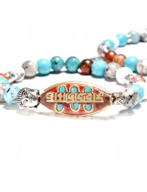 2PCS Vintage Colorful Beads Bracelet Natural Stone Two layers Set Charming Bracelets for Women