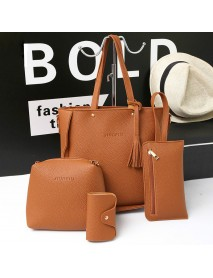 4 PCS Handbags Tassel Shoulder Bags Elegant Clutches Bags Wallets Card Holder