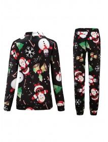 Women Long Sleeve Christmas Tree Snow Print T-shirts and Pants Sets
