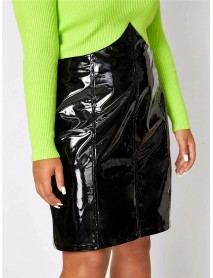 Plus Size Fashion Black Patent Leather High Waist Party Skirts