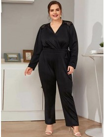Plus Size Office V-neck Backless Lace Patchwork Black Casual Jumpsuit