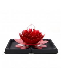 3D Folding Rotating Rose Ring Box Birthday Valentine's Day Jewelry Display
