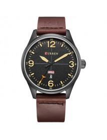 CURREN 8265 Men Sport Watch Military Leather Week Day Display Strap Casual Quartz Wrist Watch