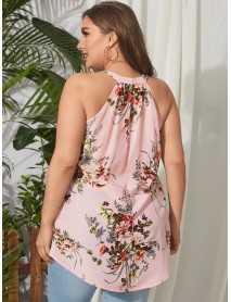 Plus Size Backless Design Floral Print Halter Sleeveless Tank Top