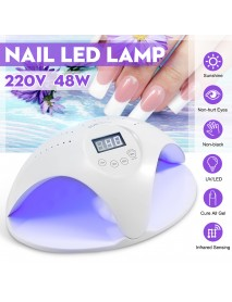 220V 48W LED Smart Therapy Machine Dual Light Source Nail UV Lamp Infrared Sensing Quick-drying