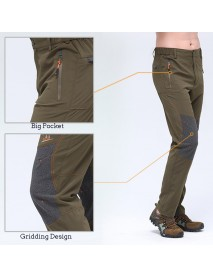 Men's Outdoor Tactics Pants Quick Drying Breathable Casual Zipper Fly Grid Design Climbing Pants