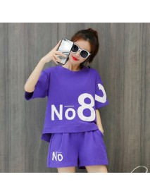 Casual Sportswear Suit Women's New Fashion Print Loose Short-sleeved Shorts Running Two-piece