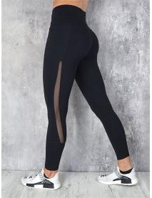 Casual Mesh Stitching Yoga Running Sport Slim Leggings
