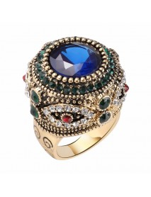 Bohemian Blue Rhinestone Finger Rings Ethnic Gold Plated Round Geometric Ring  Jewelry for Women