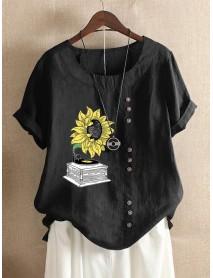 Casual Print Sunflower O-neck Short Sleeve Button T-Shirts