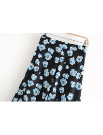 European And American Style Women's New Flower In The Long Section Skirt 9-2-1184