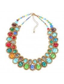 Women Multicolor Crystal Charm Gold Exaggerated Bib statement Necklace Jewelry Gift