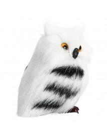 10 PCS Owl White Black Furry Christmas Ornament Decoration Toys Adornment Simulation