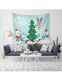 Loskii LWG7 Christmas Tapestry Santa Print Wall Hanging Tapestry Art Home Decor Christmas Decorations For Home