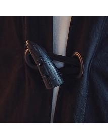 Casual Loose Horn Button Linen V-Neck Jacket
