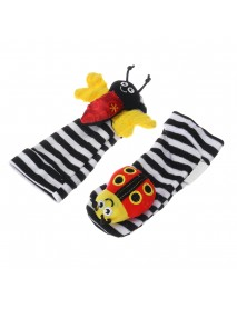 4Pcs Set Baby Sock Wrist Rattle and Foot Finder Socks