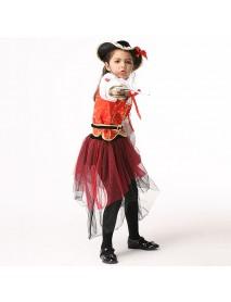 4Pcs Halloween Kid Girls Long Sleeve Pirate Cosplay Costume