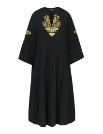 Bohemian Floral Print V-neck 3/4 Sleeve Pleated Mini Dress