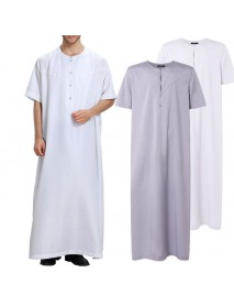 INCERUN Mens Loose Kaftan Short Sleeve Solid Color Round Neck Long Tops