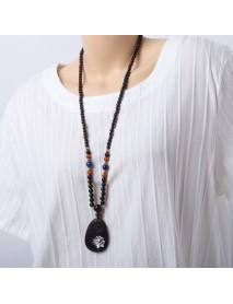 Buddhist Prayer Beads Necklace Ethnic Lotus Ebony Blackwood Pendant Necklaces Jewelry for Women Men