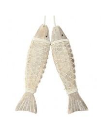 2Pcs Handmade Coastal Art Design Carved Wooden Marine Fish Wall Sculpture