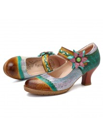 SOCOFY Handmade Flowers Hook Loop Genuine Leather Pumps