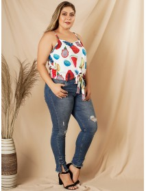 Plus Size Holiday Fruit Print Bow-knot Sleeveless Sling Tank Top