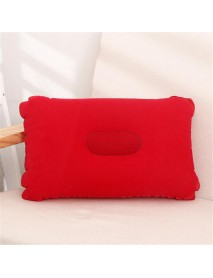 Folding Double Sided Inflatable Pillow Suede Fabric Cushion Camping Home Bedding Decor