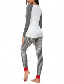 Women Christmas Print Striped Pants Set Tracksuit