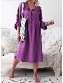 Women Long Sleeve Button Lapel Causal Shirt Dress