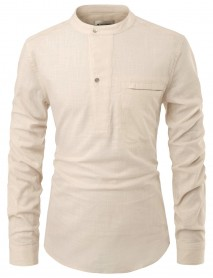 Men's Casual Buttons Cotton Pocket Crew Neck Solid Color Long Sleeve Tops