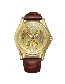 A3 Genuine Leather Strap Automatic Mechanical Watch Fashionable Transparent Case Men Watch