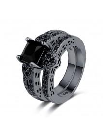 2Pcs/set Classic Engagement Ring Gun Black Zirconia Heart Ring Sets for Women