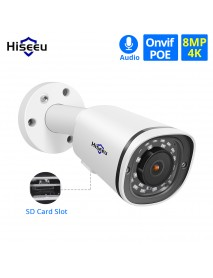 Hiseeu 4K 8MP POE IP Camera Metal Waterproof Audio CCTV Camera Card Slot Motion Detect ONVIF H.265