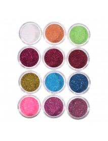Full Set Of Crystal Powder White Powder Transparent Set 12 Color Glitter Nail Art Set