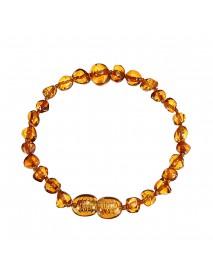 Fashion Multicolor Natural Amber Bracelets Chain Trendy Amber Elastic Bracelet Gift for Girl Women