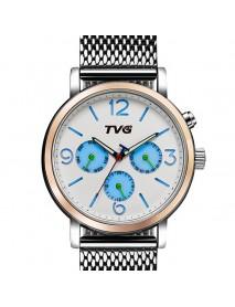 TVG 169 Week Day Display Alloy Case Stainless Steel Strap Casual Men Quartz Wrist Watch