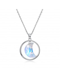 925 Sterling Silver Shining Zirconia Crystal Necklace Dangle Moon Shape Charm Necklaces for Women