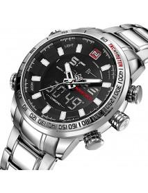 NAVIFORCE NF9093 Fashion Men Dual Display Watch Multifunction Stainless Steel Quartz Watch