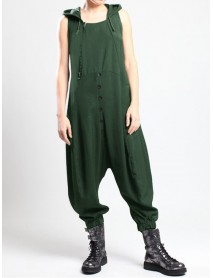 Casual Sleeveless Button Button Side Pocket Harem Pants Jumpsuit