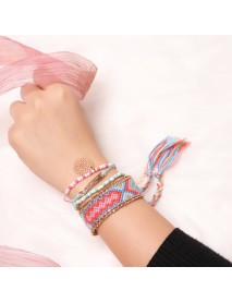 Bohemian Colorful Wave Weave Chain Rhinestone Flower Tassels Love Charm Bracelet for Women