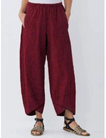 Casual Pocket Elastic Waist Stripe Women Pants