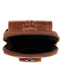 Croc Embossed Leather 6in Phone Pouch Belt Hip Bum Bag for Men