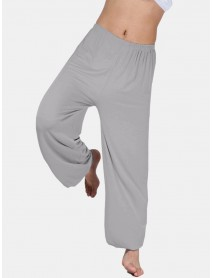 Loose Elastic Waist Yoga Morning Practice Sports Pants Light Weight Men Women Casual Bloomers