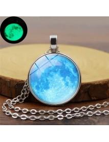 Retro Luminous Moon Long Necklace Sliver Alloy Sweater Necklace Unisex