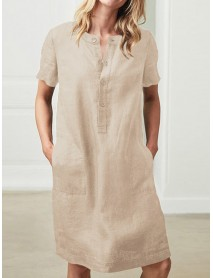 100% Cotton Women Loose Linen Round Neck Short Sleeve Button Dress with Pocket