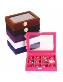 12 Grids  Jewelry Box Velvet Storage Organizer Display Showcase